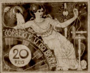 A ELETRICIDADE - PROJETO PARA SELO INTEGRANTE DA COLEÇÃO VENCEDORA DO CONCURSO DOS CORREIOS DE 1904 - NANQUIM E GUACHE/PAPEL - c.1903 - LOCALIZAÇÃO DESCONHECIDA