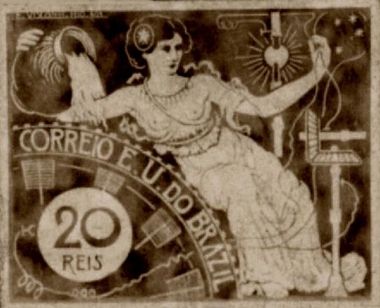 A ENERGIA ELÉTRICA - PROJETO PARA SELO INTEGRANTE DA COLEÇÃO VENCEDORA DO CONCURSO DOS CORREIOS DE 1904 - NANQUIM E GUACHE/PAPEL - c.1903 - LOCALIZAÇÃO DESCONHECIDA