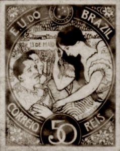 A LEI ÁUREA - PROJETO PARA SELO INTEGRANTE DA COLEÇÃO VENCEDORA DO CONCURSO DOS CORREIOS DE 1904 - NANQUIM E GUACHE/PAPEL - c.1903 - LOCALIZAÇÃO DESCONHECIDA
