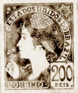 A REPÚBLICA - PROJETO PARA SELO INTEGRANTE DA COLEÇÃO VENCEDORA DO CONCURSO DOS CORREIOS DE 1904 - NANQUIM E GUACHE/PAPEL - c.1903 - LOCALIZAÇÃO DESCONHECIDA