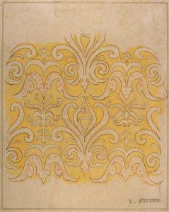 MOTIVO ORNAMENTAL - ESTUDO PARA FRISO - AQUARELA/PAPEL - 49 x 41 cm - c.1900 - COLEÇÃO PARTICULAR