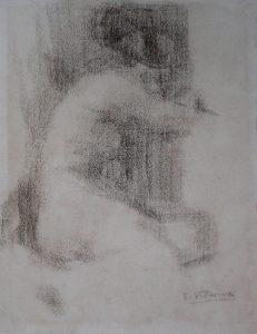 NU FEMININO - CARVÃO S/ PAPEL - 31 x 24 cm - c.1890 - COLEÇÃO PARTICULAR