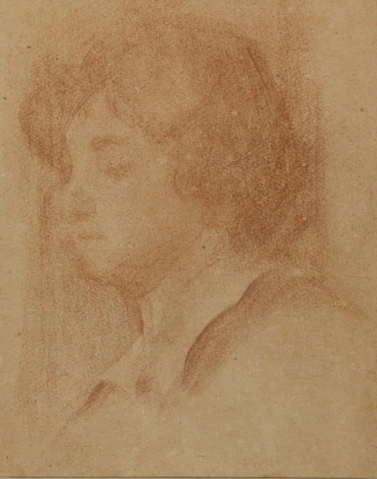 CABEÇA FEMININA - SANGUÍNEA - 42,5 X 25,0 cm - 1890 - COLEÇÃO PARTICULAR