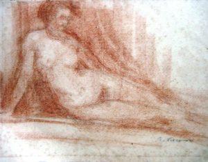 NU FEMININO SENTADO - SANGUÍNEA - 31,0 x 38,5 cm - c.1900 - MUSEU DOS TEATROS - FUNARJ