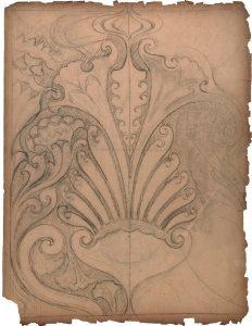 MOTIVO ORNAMENTAL - ESTUDO PARA ORNATO - CRAYON/PAPEL - 64 x 50 cm - c.1900 - COLEÇÃO PARTICULAR