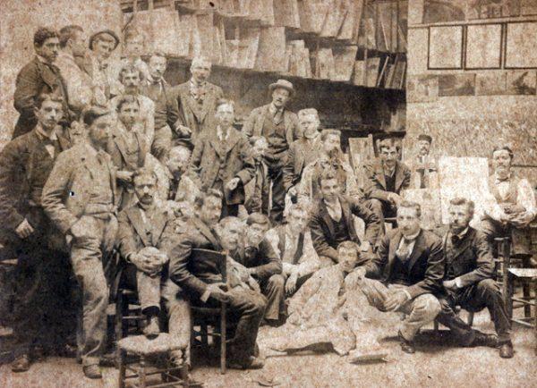 Visconti na Academia Julian - Primeiro à direita - 1893