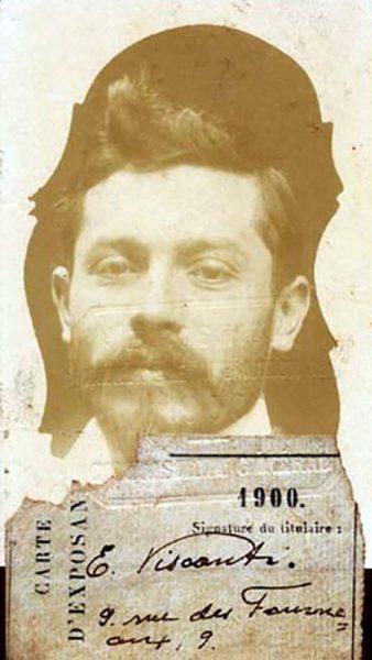 Carteira de expositor de Visconti para a Exposição Universal de 1900 em Paris