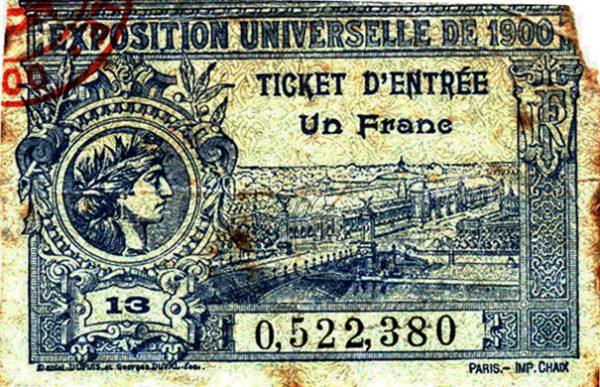 Ingresso para a Exposição Universal de Paris, em 1900, quando Visconti ganhou medalha de prata por Gioventù e Oréadas