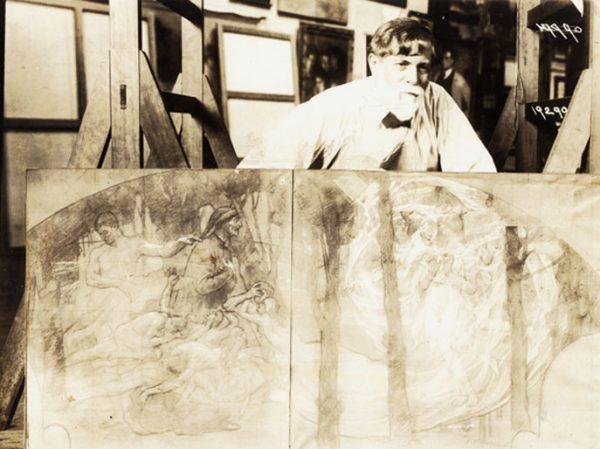 Visconti com estudos para o foyer do Theatro Municipal - Foto de Augusto Malta