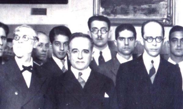 Visconti com Getúlio e Gustavo Capanema