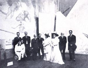 Visconti recebe o Presidente Rodrigues Alves em Paris na Exposição do Pano de Boca - 1907