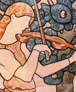 A MÚSICA - ESTUDO PARA VITRAL - GUACHE/PAPEL - 60 x 44 cm - c.1898 - COLEÇÃO PARTICULAR