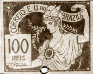 O COMÉRCIO - PROJETO PARA SELO INTEGRANTE DA COLEÇÃO VENCEDORA DO CONCURSO DOS CORREIOS DE 1904 - NANQUIM E GUACHE/PAPEL - c.1903 - LOCALIZAÇÃO DESCONHECIDA