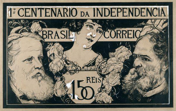 SELO COMEMORATIVO DO 1º CENTENÁRIO DA INDEPENDÊNCIA - 150 RÉIS - ESTUDO PARA SELO - NANQUIM E GUACHE/PAPEL - 27,0 x 41,5 cm - 1922 - COLEÇÃO PARTICULAR