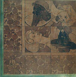 FIGURAS E FLORES - ESTUDO PARA DECORAÇÃO DE PISO - AQUARELA/PAPEL - 45 x 46 cm - 1897 - COLEÇÃO PARTICULAR