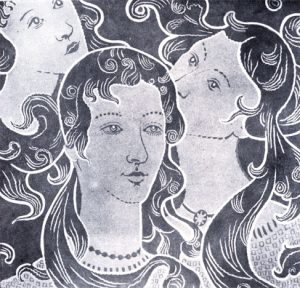 AS TRES VIRGENS - ESTUDO PARA TECIDO - NANQUIM E GUACHE/PAPEL - c.1900 - COLEÇÃO PARTICULAR