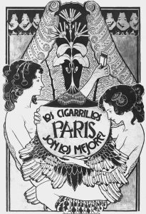 LOS CIGARRILLOS PARIS - CARTAZ DE PROPAGANDA DE CIGARROS - NANQUIM E AQUARELA SOBRE PAPEL - 130 x 90 cm - 1901 - COLEÇÃO PARTICULAR