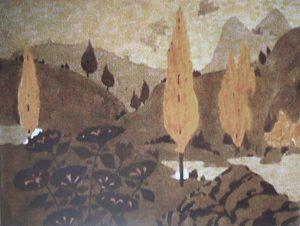 PAISAGEM - ESTUDO PARA MARCHETARIA - AQUARELA E GRAFITE/PAPEL - 39 x 47 cm - c.1900 - COLEÇÃO BRADESCO DE ARTE BRASILEIRA