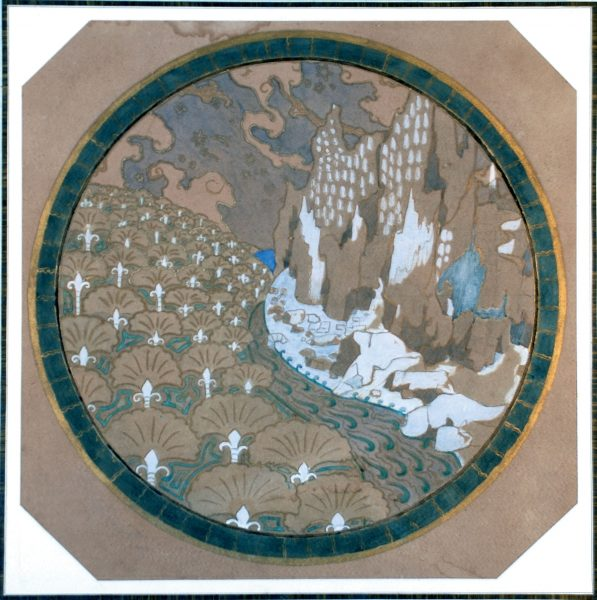 PAISAGEM ROCHOSA - ESTUDO PARA MARCHETARIA - GUACHE/PAPEL - 50 x 65 cm - c.1901 - COLEÇÃO PARTICULAR