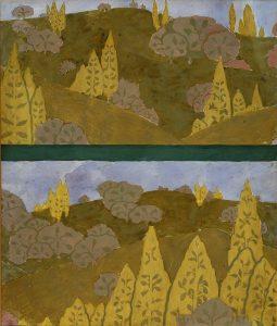 PAISAGEM - ESTUDO PARA MARCHETARIA - GUACHE/PAPEL - 52,2 x 44,3 cm - c.1901 - ACERVO DO SOLAR GRANDJEAN DE MONTIGNY - CENTRO CULTURAL DA PUC-RJ