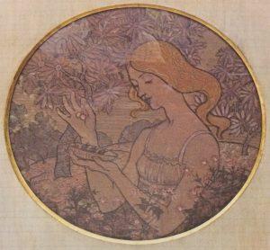 A PRIMAVERA - ESTUDO PARA PRATO EM CERÂMICA - GUACHE/PAPEL - d.42,5 cm - c.1900 - COLEÇÃO PARTICULAR