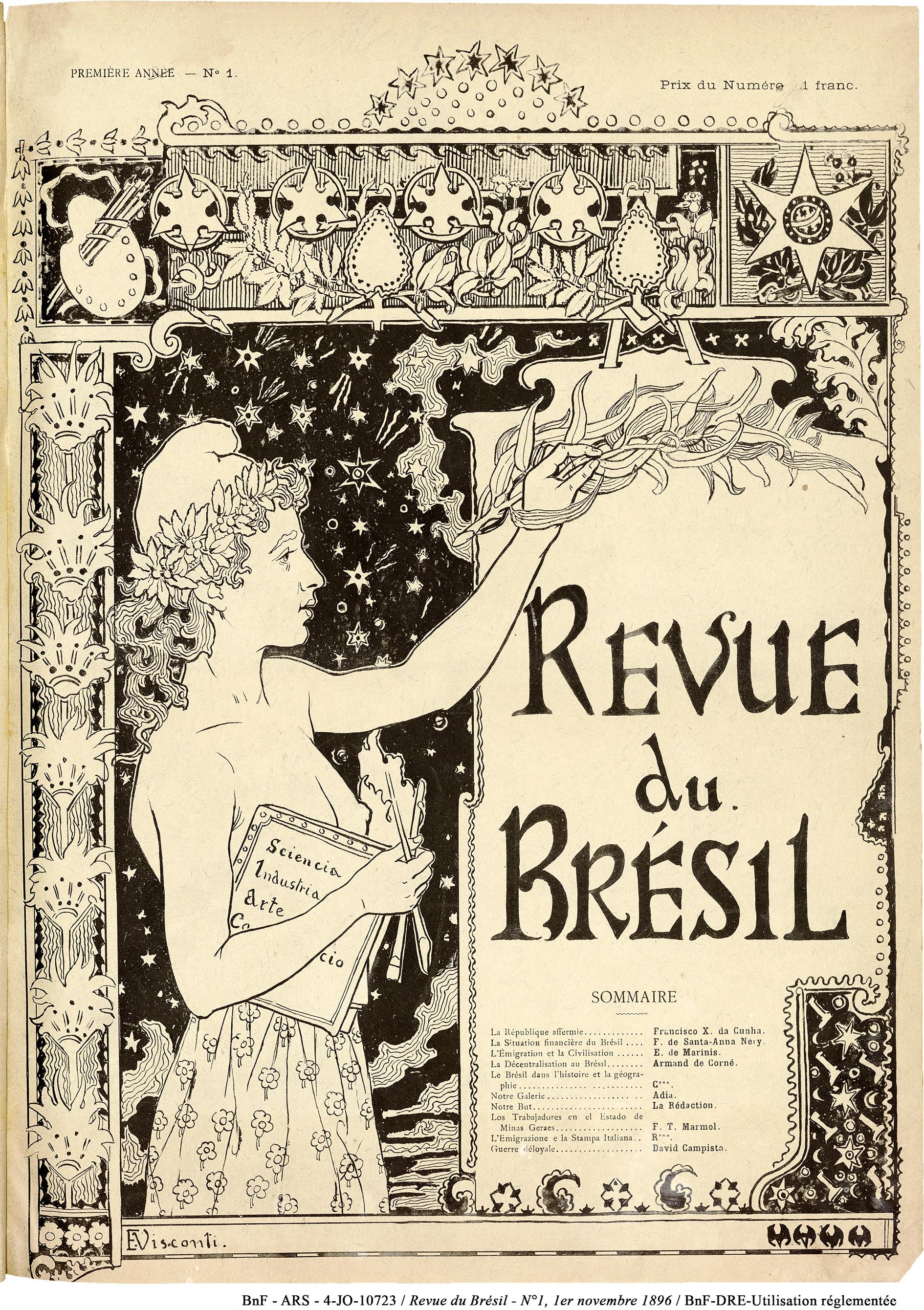 CAPA DO PRIMEIRO NÚMERO DA REVUE DU BRÉSIL EDITADA EM PARIS - NOVEMBRO DE 1896 - 37 x 29 cm - MATRIZ ORIGINAL DE LOCALIZAÇÃO DESCONHECIDA