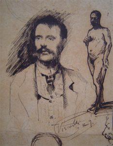 AUTORRETRATO - BICO DE PENA SOBRE PAPEL - 12,0 x 7,5 cm - 1889 - COLEÇÃO PARTICULAR