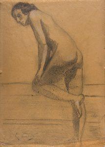NU FEMININO - CARVÃO S/ PAPEL - 44,3 x 32,3 cm - c.1894 - MUSEU VITOR MEIRELLES