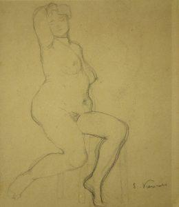 NU FEMININO - CRAYON S/ PAPEL - c.1900 - MUSEU OSCAR NIEMEYER - CURITIBA/PR