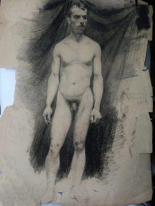 NU MASCULINO FRONTAL - CARVÃO SOBRE PAPEL - 62 x 47 cm - 1892 - COLEÇÃO PARTICULAR