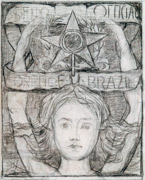 SELO OFICIAL A UNIÃO - ESTUDO NÃO UTILIZADO - CARVÃO/PAPEL - 29 x 23 cm - c.1903 - COLEÇÃO PARTICULAR