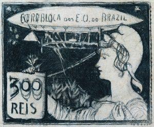 A AERONÁUTICA - ESTUDO PARA SELO INTEGRANTE DA COLEÇÃO VENCEDORA DO CONCURSO DOS CORREIOS DE 1904 - NANQUIM E GRAFITE/PAPEL - 21 x 31 cm - c.1903 - COLEÇÃO PARTICULAR