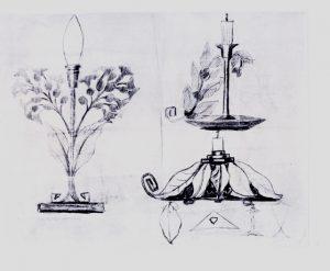 LUMINÁRIA E CASTIÇAL - ESTUDO - LÁPIS E FUSAIN/PAPEL - 48 x 68 cm - c.1900 - COLEÇÃO PARTICULAR