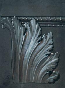 MOTIVO ORNAMENTAL - ESTUDO PARA SANCA - CRAYON E GIZ/PAPEL - 53 x 40 cm - c.1900 - COLEÇÃO PARTICULAR
