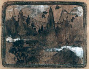 PAISAGEM - ESTUDO PARA MARCHETARIA - CARVÃO E GIZ/PAPEL - 50 x 41 cm - c.1899 - COLEÇÃO PARTICULAR