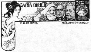 CARTA-BILHETE PARA O INTERIOR - FUNDAÇÃO DA NACIONALIDADE BRASILEIRA - PROJETO PARA CARTA-BILHETE INTEGRANTE DA COLEÇÃO VENCEDORA DO CONCURSO DOS CORREIOS DE 1904 - NANQUIM E GRAFITE/PAPEL - 1903 - LOCALIZAÇÃO DESCONHECIDA