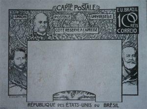 BILHETE POSTAL PARA O EXTERIOR - A EVOLUÇÃO HISTÓRICA DO BRASIL - PROJETO PARA BILHETE POSTAL INTEGRANTE DA COLEÇÃO VENCEDORA DO CONCURSO DOS CORREIOS DE 1904 - NANQUIM E GRAFITE/PAPEL - 1903 - LOCALIZAÇÃO DESCONHECIDA
