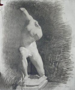 ESCULTURA DO LOUVRE - CARVÃO SOBRE PAPEL - 62 x 47 cm - 1893 - COLEÇÃO PARTICULAR
