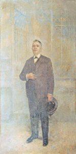 RETRATO DO COMENDADOR ALBINO DE SÁ COELHO COM CHAPÉU - OST - 245 x 128 cm - c.1929 - IRMANDADE DA CANDELÁRIA
