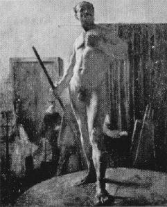 NU MASCULINO COM BASTÃO - OST - 80 x 64 cm - c.1895 - LOCALIZAÇÃO DESCONHECIDA