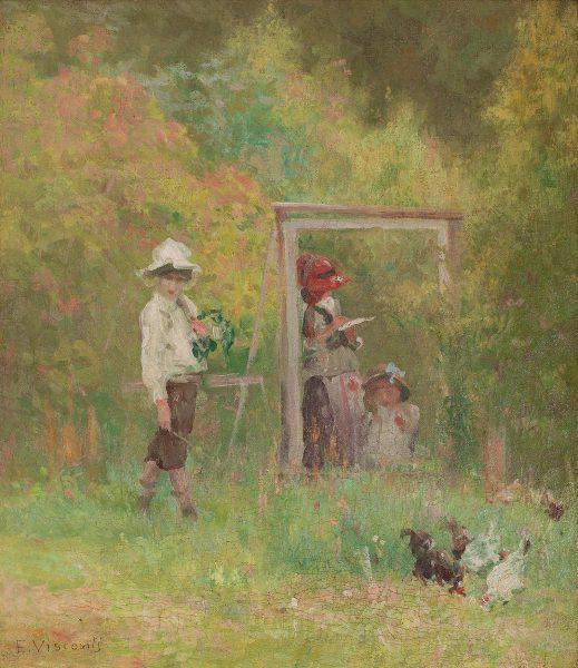 CRIANÇAS BRINCANDO - OST - 44 x 37 cm - c. 1917 - COLEÇÃO PARTICULAR