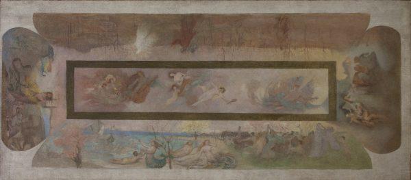 A MÚSICA, O DRAMA E A ARTE LÍRICA - PRIMEIRA COMPOSIÇÃO PARA OS PAINÉIS DO FOYER DO THEATRO MUNICIPAL DO RIO DE JANEIRO - OST - 69 x 160 cm - c.1912 - COLEÇÃO PARTICULAR