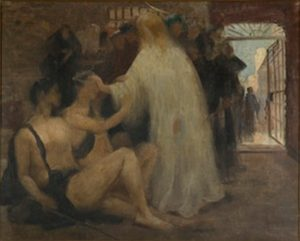 CENA BÍBLICA - JESUS CURANDO CEGOS - OST - 32,0 x 40,5 cm - c.1898 - PINACOTECA RUBEN BERTA