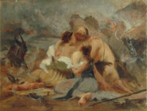CENA BÍBLICA - LÓ E SUAS FILHAS - OST - 32,0 x 40,0 cm - c.1898 - PALÁCIO BOA VISTA - CAMPOS DO JORDÃO/SP