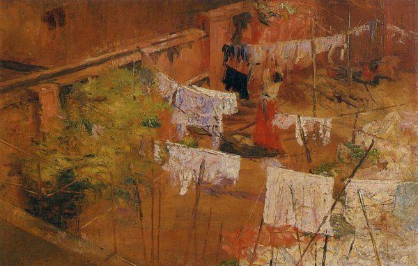 ESTENDENDO ROUPA - OST - 43 x 66 cm - c.1922 - COLEÇÃO PARTICULAR