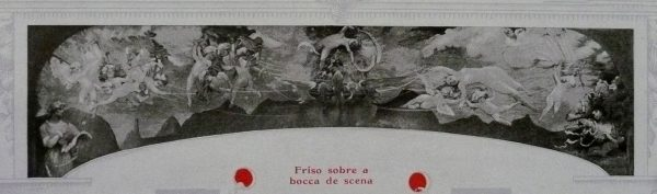 A POESIA E O AMOR AFASTANDO A VIRTUDE DO VÍCIO - PRIMITIVO FRISO SOBRE O PROSCÊNIO DO THEATRO MUNICIPAL DO RIO DE JANEIRO - ÓLEO SOBRE TELA DE LONA – 15,0 m x 2,6 m (ALTURA DA PARTE CENTRAL) - 1908