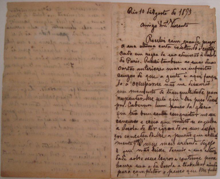 CARTA DE AMOEDO A VISCONTI - 10 DE AGOSTO DE 1893