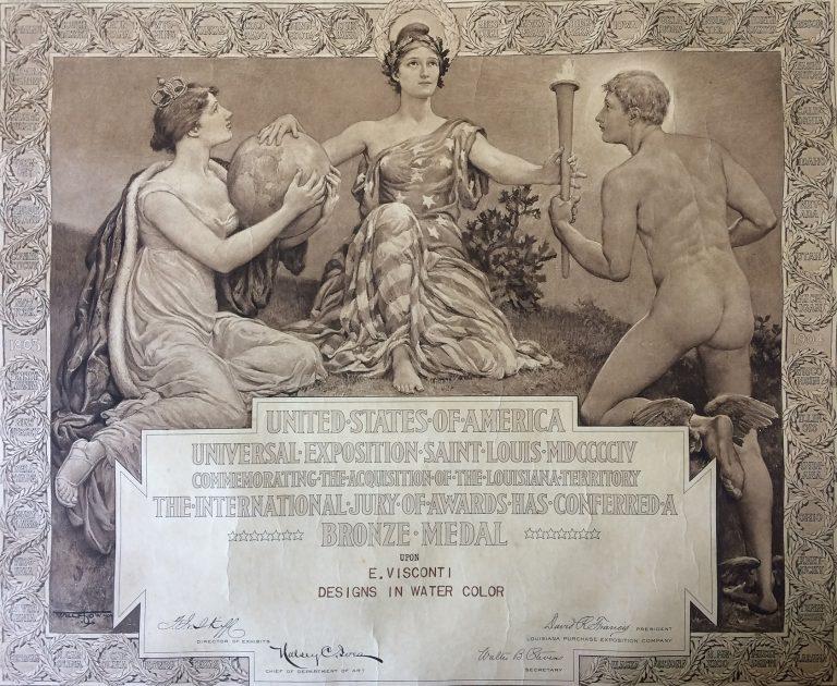 DIPLOMA DE MEDALHA DE BRONZE NA EXPOSIÇÃO DE SAINT LOUIS EM AQUARELAS - 1904