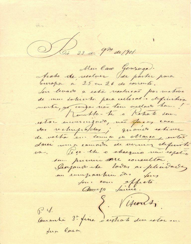 CARTA DE ELISEU VISCONT A GONZAGA DUQUE EM 23 DE NOVEMBRO DE 1908