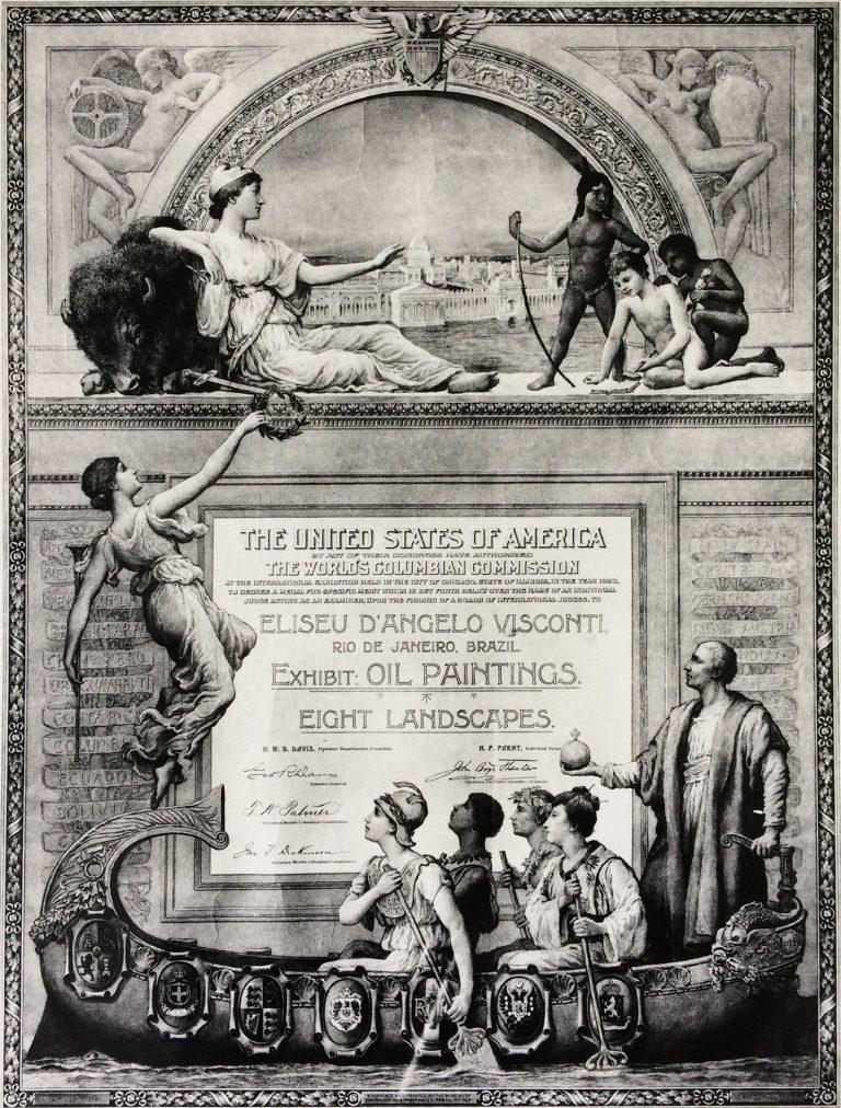 DIPLOMA DA MEDALHA POR MÉRITO ESPECIAL NA WORLD COLUMBIA EXPOSITION, EM CHICAGO - EUA - 1893